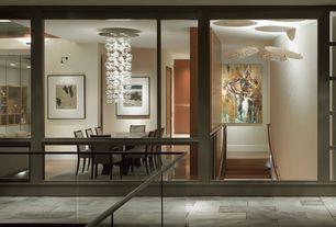 Contemporary Dining Room with flat door, Standard height, bedroom reading light, picture window, Chandelier, Laminate floors
