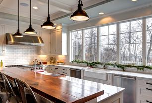 Traditional Kitchen with Complex granite counters, Inset cabinets, Wood counters, Pendant light, L-shaped, Farmhouse sink