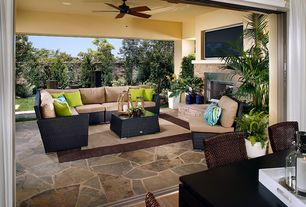 Traditional Patio with Fence, Pathway, exterior stone floors