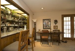Craftsman Bar with Built-in bookshelf, can lights, Box ceiling, Carpet, Standard height