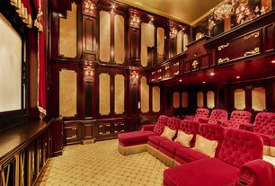Traditional Home Theater with Wainscotting, Loft, High ceiling, Carpet, Wall sconce, Crown molding, interior wallpaper