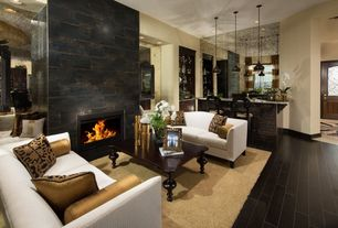 Contemporary Living Room with Area rug, FlashFurniture Hercules Imperial Series Leather Love Seat, stone fireplace, Fireplace