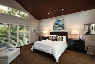 Craftsman Master Bedroom with Carpet, Wood ceiling, Plantation shutters, Squared block 3-way crystal and chrome table lamp