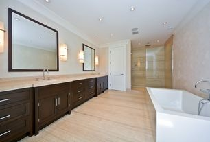 Contemporary Master Bathroom with Double sink, partial backsplash, frameless showerdoor, Standard height, Flat panel cabinets