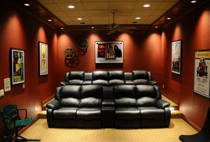 Contemporary Home Theater with Ceiling fan, Woodland imports movie reel wall decor, Framed movie posters, Crown molding