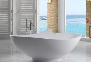 Contemporary Master Bathroom with HelixBath Dettifoss Freestanding Modern Tub Faucet, SW-127 (71 x 40), marble tile floors