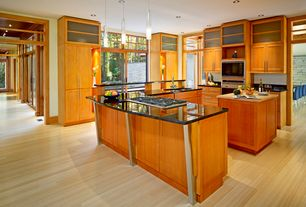 Contemporary Kitchen with L-shaped, Simple marble counters, Pendant light, Flush, Undermount sink, Kitchen island