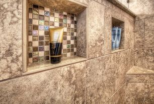 Modern Master Bathroom with Stone Source, MIX - HELLAS BIANCO / TUCSON MARRONE / CAIRO ORO, Ceramic Tile Multicolor