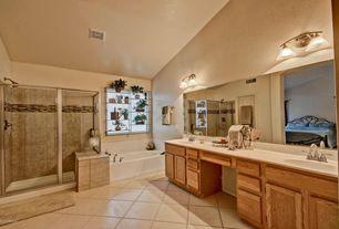 Craftsman Master Bathroom with Standard height, full backsplash, Bathtub, Corian counters, Master bathroom, drop in bathtub