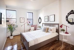 Modern Guest Bedroom with Hardwood floors, Ikea lindved, flush light, double-hung window, Standard height, Ikea hemnes
