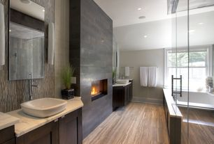 Contemporary Master Bathroom with Northstar ceramic gemma 4x4 glass tile, Flat panel cabinets, Flush, Handheld showerhead