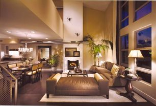 Contemporary Great Room with Chandelier, French doors, Cement fireplace, Concrete floors, High ceiling