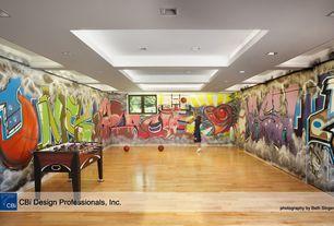 Playroom with Exposed beam, Hardwood floors
