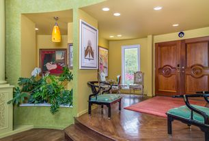 Eclectic Entryway with French doors, Hardwood floors, picture window, can lights, Standard height