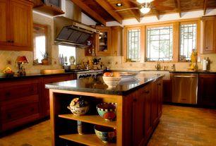 Craftsman Kitchen with Clay Brick Flooring