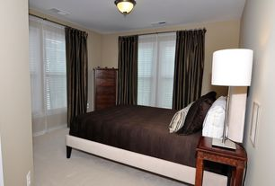 Traditional Guest Bedroom with Standard height, Carpet, double-hung window, flush light