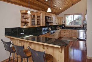 Craftsman Kitchen with High ceiling, Stone County Ironworks Pine Cone Bar Stool With Wood Seat, Breakfast bar, Soapstone