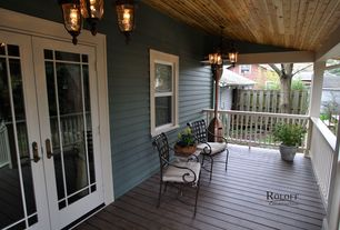 Traditional Porch with Screened porch, French doors, double-hung window, Fence, Deck Railing
