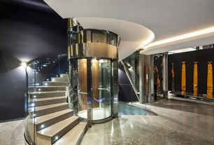 Contemporary Staircase with simple marble floors, Visilift visi-58 round, Spiral staircase, Wall sconce, Paint 1, Elevator