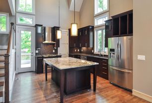 Craftsman Kitchen with Merola tile - coppa auburn 12 in. x 12 in. x 4 mm glass mosaic wall tile, full backsplash, Glass panel