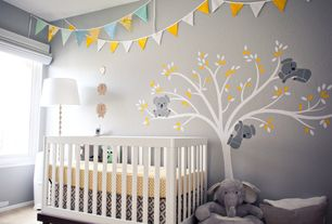 Contemporary Kids Bedroom with Oeuf Classic Crib, Hardwood floors, Pennant banner, Mural