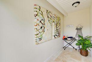 Traditional Home Office with stone tile floors, Exposed beam, flush light, travertine tile floors, Standard height