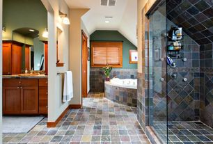 Craftsman Master Bathroom with drop in bathtub, can lights, drop-in sink, wall-mounted above mirror bathroom light, Shower
