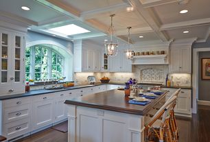 Traditional Kitchen with full backsplash, Glass panel, Berenson BN4146-1014-P, Paint 1, electric cooktop, can lights, Paint 2