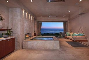 Contemporary Hot Tub with exterior tile floors, Porch swing