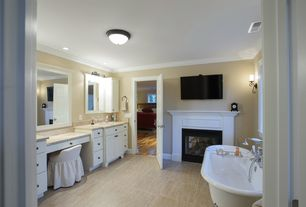 Traditional Master Bathroom with Crown molding, Wall sconce, Undermount sink, Pental dorato honed/filled travertine, Clawfoot
