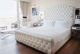 Contemporary Master Bedroom with Universal Furniture New Bohemian Sleigh Bed, Hardwood floors
