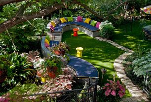 Eclectic Patio with Fence, World Market Poinciana Metal Dimitri Outdoor Stool, Raised beds, Pathway