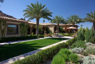 Mediterranean Landscape/Yard with exterior tile floors, Scotts Turf Builder Sun and Shade Mix Grass Seed, Pathway