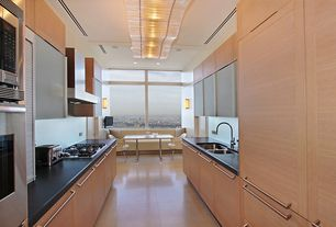 Contemporary Kitchen with Galley, Flush, Breakfast nook, Wall sconce, Soapstone counters, Flat panel cabinets