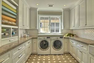 Traditional Laundry Room with Ann sacks capriccio rectangle field, Hampton bay valencia laminate countertop in madura garnet