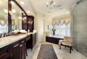 Traditional Master Bathroom with frameless showerdoor, MS International Gascogne Beige Limestone Tile, Master bathroom