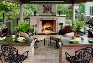 Mediterranean Porch with Cole & Grey Loft Freestyle Wall D?cor, Pathway, Fence, Outdoor kitchen, exterior tile floors