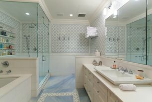 Traditional Master Bathroom with Flush, stone tile floors, can lights, Corian counters, Master bathroom, Rain shower, Bathtub