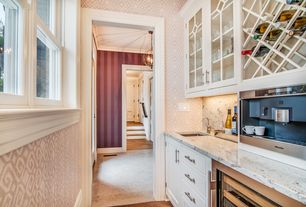 Traditional Kitchen with Inset cabinets, Aliona stripe plum wallpaper, Wine refrigerator, Undermount sink, One-wall