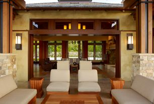 Contemporary Porch with Screened porch, exterior stone floors, Mission style, Natural stone veneer, Integral color plaster