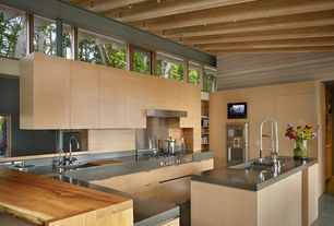 Contemporary Kitchen with European Cabinets, Soapstone counters, flush light, double wall oven, Multiple Sinks, Flush, Paint