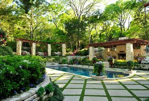 Traditional Swimming Pool with Trellis, Fence, exterior stone floors, Pathway, Other Pool Type