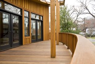 Modern Deck with Transom window, French doors, Trellis