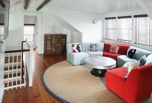 Contemporary Attic with Knotty pine hardwood flooring, double-hung window, Paint, Hardwood floors, Interior shiplap walls