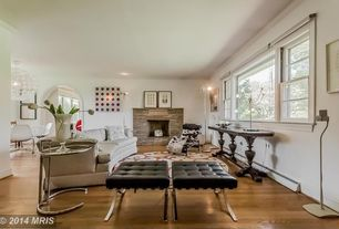 Eclectic Living Room with Standard height, can lights, stone fireplace, Hardwood floors, Fireplace, double-hung window