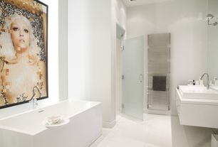 Contemporary Master Bathroom with Simple marble counters, Standard height, Flush, Freestanding, Shower, frameless showerdoor