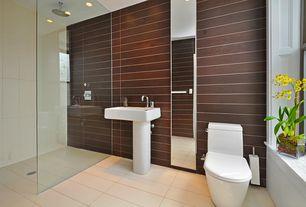 Modern 3/4 Bathroom with Shower, Kohler reve pedistal sink, Pedestal sink, can lights, Wall Tiles, Corian counters