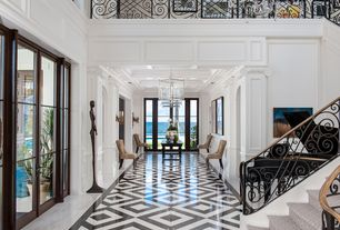 Traditional Hallway with Chandelier, Wainscotting, Wildon Home Side Chair, Loft, Wall sconce, Crown molding, French doors