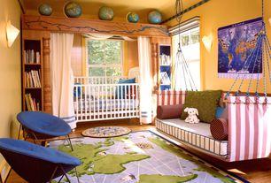 Eclectic Kids Bedroom with Wall sconce, Hardwood floors, Built-in bookshelf, Bunk beds