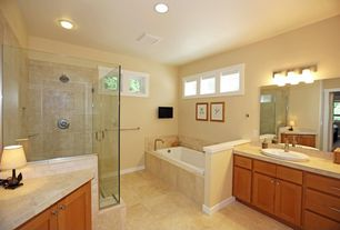 Craftsman Master Bathroom with Bathtub, flush light, Standard height, limestone tile floors, Drop-in sink, Wall Tiles, Shower